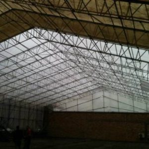 large space with scaffolding surrounding