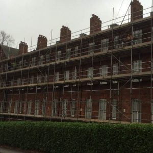 large house/flats with scaffolding
