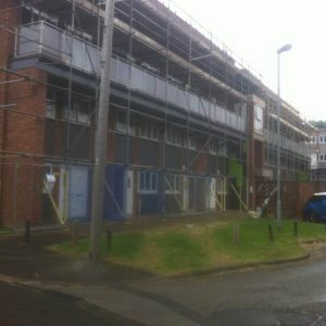 leeds scaffolding on block of flats
