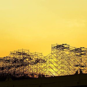 sunset with scaffolding image
