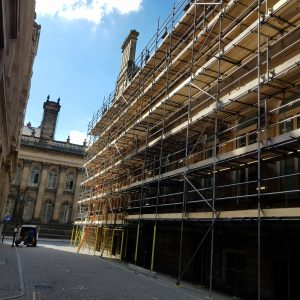 Building with scaffolding on